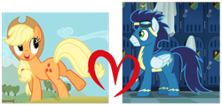 Size: 722x345 | Tagged: safe, edit, edited screencap, screencap, applejack, soarin', butt, female, male, shipping, shipping domino, soarinjack, straight