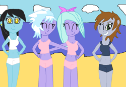 Size: 1327x916 | Tagged: safe, artist:kollinice98, cloudchaser, flitter, oc, oc:bluesheer, oc:littlepip, fallout equestria, equestria girls, beach, clothes, ear piercing, earring, equestria girls-ified, jewelry, looking at you, piercing, swimsuit