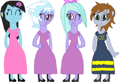 Size: 1347x917 | Tagged: safe, artist:kollinice98, cloudchaser, flitter, oc, oc:bluesheer, oc:littlepip, fallout equestria, equestria girls, bow, clothes, dress, ear piercing, earring, equestria girls-ified, flower, flower in hair, hair bow, jewelry, piercing, simple background, tomboy taming, white background