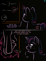 Size: 676x900 | Tagged: safe, artist:quint-t-w, pinkie pie, twilight sparkle, earth pony, pony, unicorn, back of head, chalk, chalkboard, comic, dark background, dialogue, female, in which pinkie pie forgets how to gravity, magic, mare, old art, pinkie being pinkie, pinkie physics, pun, startled, telekinesis, unicorn twilight, writing