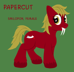 Size: 450x437 | Tagged: safe, artist:quint-t-w, oc, oc only, oc:papercut, original species, pony, sabertooth pony, fangs, female, green background, looking at you, old art, sharp teeth, simple background, solo, teeth, text, unshorn fetlocks