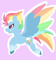 Size: 750x795 | Tagged: safe, rainbow dash, pegasus, pony, leak, spoiler:g5, colored wings, female, flying, g5, hooves, mare, multicolored wings, rainbow dash (g5), rainbow wings, wings