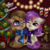 Size: 1200x1200 | Tagged: safe, artist:holambaoduyen, oc, oc only, oc:dawnsong, oc:evensong, earth pony, pegasus, cheek squish, christmas, christmas tree, clothes, couple, glasses, holiday, merry christmas, one eye closed, ribbon, scarf, shared clothing, shared scarf, squishy cheeks, teddy bear, tree, wink, ych result