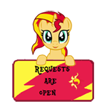 Size: 150x147 | Tagged: safe, artist:majkashinoda626, sunset shimmer, pony, unicorn, happy, request info, requests are open, sign, solo