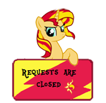 Size: 150x147 | Tagged: safe, artist:majkashinoda626, sunset shimmer, pony, unicorn, angry, request info, requests are closed, sign, solo