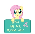 Size: 150x147 | Tagged: safe, artist:majkashinoda626, fluttershy, pegasus, pony, gift info, gifts are for friends only, sign, solo