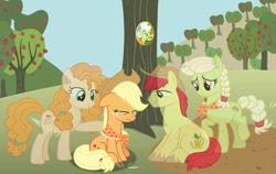 Size: 1140x720 | Tagged: safe, artist:silverbuller, applejack, bright mac, granny smith, pear butter, earth pony, ghost, pony, undead, the last problem, spoiler:s09e26, apple, apple tree, crying, eyes closed, female, granny smith's scarf, male, mare, picture, rest in peace, sitting, stallion, tree, young granny smith, younger