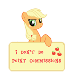 Size: 150x147   Tagged: safe, artist:majkashinoda626, applejack, angry, hatless, i don't do point commissions, missing accessory, picture for breezies, sign, simple background, solo, transparent background