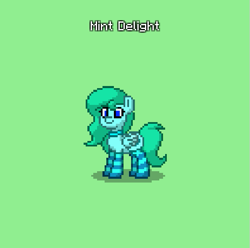 Size: 595x591 | Tagged: safe, oc, oc only, oc:mint delight, pegasus, pony, pony town, clothes, collar, female, socks, solo, striped socks