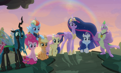 Size: 1384x838 | Tagged: safe, edit, edited screencap, screencap, vector edit, applejack, fluttershy, pinkie pie, queen chrysalis, rainbow dash, rarity, spike, twilight sparkle, alicorn, changeling, changeling queen, dragon, pegasus, pony, unicorn, the last problem, spoiler:s09e26, a better ending for chrysalis, adorkable, alternate ending, alternate hairstyle, alternate scenario, alternate universe, awkward smile, cropped, crown, cute, cutealis, dork, dorkalis, end of ponies, excited, faic, female, former queen chrysalis, giggling, good end, grin, happy, immature, irrational exuberance, jewelry, mane seven, mane six, mare, older, older applejack, older fluttershy, older mane 6, older mane 7, older pinkie pie, older rainbow dash, older rarity, older spike, older twilight, princess twilight 2.0, redemption, reformed, regalia, silly, smiling, spead wings, spread wings, squee, standing, sunset, sweet apple acres barn, sweet dreams fuel, teeth, the end, twilight sparkle (alicorn), vector, what if, when she smiles, winged spike, wings