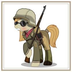Size: 1024x1024 | Tagged: safe, artist:brony-works, earth pony, pony, afrika korps, clothes, female, k98, mare, nazi germany, simple background, solo, sunglasses, sweat, uniform, white background, world war ii