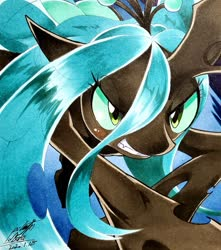 Size: 1811x2048 | Tagged: safe, artist:025aki, queen chrysalis, changeling, changeling queen, angry, blushing, female, solo, traditional art