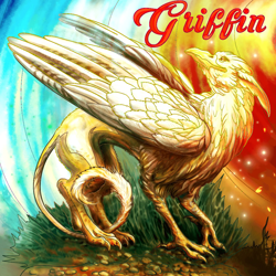 Size: 1024x1024 | Tagged: safe, artist:gooeybird, griffon, grass, looking back, tail between legs, text
