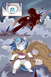 Size: 960x1440 | Tagged: safe, artist:cold-blooded-twilight, shining armor, unicorn, comic:cold storm, armor, bleeding, blood, clothes, comic, dialogue, magic, robe, unshorn fetlocks