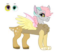 Size: 2500x2000   Tagged: safe, artist:koloredkat, oc, oc only, oc:eris, hybrid, chest fluff, eye, female, heterochromia, interspecies offspring, not eris, offspring, parent:discord, parent:fluttershy, parents:discoshy, reference sheet, simple background, smiling, story included, transparent background