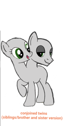 Size: 1080x2160 | Tagged: safe, artist:calebtyink, earth pony, pony, base, conjoined, conjoined twins, female, intersex, male, mare, mix gender, multiple heads, stallion, template, two heads