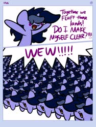 Size: 1920x2560 | Tagged: safe, artist:kimjoman, oc, oc:purple flix, army, cheering, chibi, clone, comic, cute, eyes closed, frown, glare, hooves up, mob, multeity, ocbetes, open mouth, serious, serious face, smiling, speech bubble, text, wat, wew, yelling