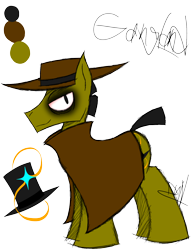 Size: 1150x1500   Tagged: safe, artist:didun850, oc, oc only, oc:gangland, earth pony, pony, clothes, fedora, hat, male, reference sheet, simple background, stallion, top hat, transparent background