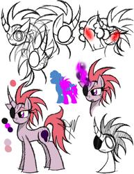 Size: 888x1150 | Tagged: safe, artist:didun850, oc, oc only, oc:afterlight, pony, unicorn, blushing, bust, eyepatch, female, horn, mare, reference sheet, signature, unicorn oc, white eyes
