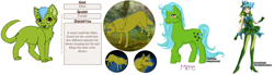 Size: 2160x594 | Tagged: safe, artist:baby-blue-bell, artist:kamirah, artist:onetrickwolf, oc, oc only, oc:mirre, cat, earth pony, human, pony, wolf, dolldivine, female, g1, humanized, mare, paw prints, reference sheet, species swap