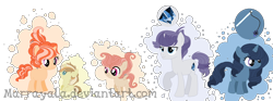 Size: 1428x529 | Tagged: safe, artist:marrayala, artist:selenaede, oc, oc:baked pear, oc:chris friable, oc:firefly, oc:peachy apple, oc:ruby brooke, earth pony, pegasus, pony, unicorn, baby, baby pony, base used, blank flank, bubble, colt, cousins, cutie mark, female, filly, male, offspring, parent:applejack, parent:big macintosh, parent:fluttershy, parent:trenderhoof, parents:fluttermac, parents:rariplate, parents:trenderjack, siblings, simple background, transparent background