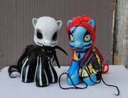 Size: 537x410 | Tagged: safe, artist:tat2ood-monster, pony, bone, clothes, craft, crossover, female, irl, jack skellington, male, mare, photo, ponified, sally skellington, sculpture, skeleton, stallion, stitches, the nightmare before christmas