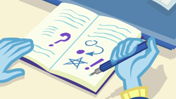 Size: 1920x1080 | Tagged: safe, screencap, trixie, equestria girls, forgotten friendship, spoiler:eqg series, book, pencil, writing