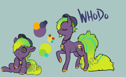 Size: 1300x800 | Tagged: safe, artist:lavvythejackalope, oc, oc only, oc:whodo, earth pony, pony, :o, baby, baby pony, cap, colored hooves, eyes closed, hair over one eye, hat, jewelry, necklace, open mouth, raised hoof, reference sheet, sitting, skull