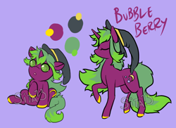 Size: 1100x800 | Tagged: safe, artist:lavvythejackalope, oc, oc:bubble berry, pony, unicorn, :o, baby, baby pony, colored hooves, eyes closed, female, filly, hat, mare, open mouth, raised hoof, reference sheet, simple background, witch hat