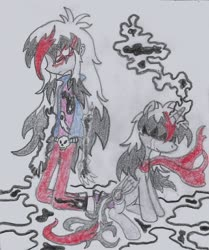 Size: 931x1113 | Tagged: safe, artist:nephilim rider, oc, oc:heaven lost, duality, humanized, nephilim, traditional art