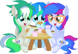 Size: 8794x6114 | Tagged: safe, artist:cyanlightning, oc, oc:azure lightning, oc:cyan lightning, oc:emerald lightning, pegasus, pony, unicorn, .svg available, absurd resolution, brother and sister, burger, chest fluff, chocolate, colt, cute, cutie mark, ear fluff, eating, eclair, female, filly, folded wings, food, hair, hay burger, holding, male, open mouth, siblings, simple background, sitting, table, transparent background, trio, vector, wings