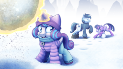 Size: 4000x2250 | Tagged: safe, artist:ohemo, princess flurry heart, shining armor, twilight sparkle, alicorn, pony, unicorn, boots, clothes, earmuffs, family, female, filly, giant snowball, hat, high res, jacket, magic, male, mare, scarf, shoes, smiling, snow, snowball, snowball fight, socks, stallion, telekinesis, this will end in pain, trio, twilight sparkle (alicorn), winter, winter jacket