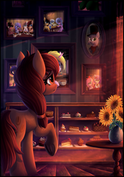 Size: 2097x2982 | Tagged: safe, artist:atlas-66, oc, earth pony, pegasus, unicorn, cafe, cake, candy, cupcake, flower, food, framed picture, room, sunflower, sweets