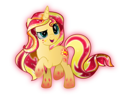 Size: 7272x5555 | Tagged: safe, artist:lincolnbrewsterfan, derpibooru exclusive, sunset shimmer, crystal pony, unicorn, .svg available, crystallized, glow, rainbow power, rainbow power-ified, simple background, solo, transparent background, vector