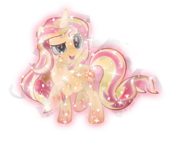 Size: 768x637 | Tagged: safe, artist:lincolnbrewsterfan, derpibooru exclusive, sunset shimmer, crystal pony, unicorn, .svg available, crystallized, glow, rainbow power, rainbow power-ified, simple background, solo, svg, transparent background, vector