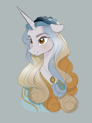 Size: 3000x4000 | Tagged: safe, artist:herfaithfulstudent, oc, oc only, oc:lannister, anthro, unicorn, bust, clothes, dress, folded ears, jewelry, necklace, simple background, solo