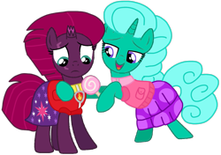 Size: 1377x969 | Tagged: safe, artist:徐詩珮, fizzlepop berrytwist, glitter drops, tempest shadow, unicorn, series:sprglitemplight diary, series:sprglitemplight life jacket days, series:springshadowdrops diary, series:springshadowdrops life jacket days, alternate universe, base used, broken horn, candy, clothes, cute, female, food, glitterbetes, glittershadow, horn, lesbian, paw patrol, shipping, simple background, swimsuit, tempestbetes, transparent background, vector