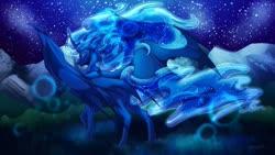 Size: 1280x724 | Tagged: safe, artist:yuyusunshine, oc, oc:lord noctis, alicorn, pony, bat wings, male, night, solo, stallion, wings