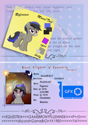 Size: 1475x2084 | Tagged: safe, artist:kiodima, oc, oc:gamebrony, pegasus, pony, passport, reference