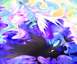 Size: 3000x2500 | Tagged: safe, artist:chrysgalaxy, nightmare moon, princess celestia, alicorn, pony, curved horn, duo, ethereal mane, female, floppy ears, frown, gritted teeth, helmet, horn, lidded eyes, looking at each other, mare, missing accessory, speedpaint available, starry mane
