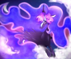 Size: 1280x1067 | Tagged: safe, artist:chrysgalaxy, nightmare moon, princess luna, alicorn, pony, chest fluff, cloud, curved horn, cutie mark, ethereal mane, eyebrows visible through hair, female, floppy ears, helmet, horn, jewelry, lidded eyes, mare, missing accessory, moon, nightmare luna, prone, sad, solo, speedpaint available, starry mane, stars, tiara