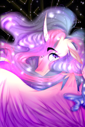Size: 2000x3000 | Tagged: safe, artist:chrysgalaxy, twilight sparkle, alicorn, pony, the last problem, spoiler:s09e26, constellation, curved horn, eyebrows visible through hair, female, floppy ears, horn, looking at you, looking over shoulder, mare, one wing out, princess twilight 2.0, solo, speedpaint available, starry eyes, stars, twilight sparkle (alicorn), wingding eyes, wings
