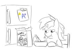Size: 704x485 | Tagged: safe, artist:jargon scott, sandbar, cereal, eating, food, hoof hold, monochrome, neo noir, partial color, puffy cheeks, refrigerator, simple background, solo, spoon, white background