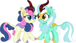 Size: 1500x854 | Tagged: safe, artist:cloudyglow, bon bon, lyra heartstrings, sweetie drops, kirin, adorabon, bedroom eyes, blushing, cute, duo, female, heart eyes, kirin-ified, lesbian, looking at each other, lyrabetes, lyrabon, shipping, simple background, species swap, touching, transparent background, wingding eyes