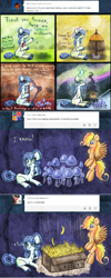 Size: 800x2006 | Tagged: safe, artist:azimooth, oc, oc:firefly, oc:thauma disk, pegasus, pony, ask thaumaturge pony, banana, box, eye twitch, female, food, harp, mare, mushroom, musical instrument, umbrella