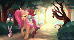 Size: 2067x1128 | Tagged: safe, artist:kyumiku, discord, fluttershy, bird, draconequus, pony, rabbit, squirrel, unicorn, leak, spoiler:g5, animal, bush, dappled sunlight, discord (g5), female, flower, flower in hair, fluttershy (g5), forest, g5, hooves, male, mare, redesign, sunlight, tree, unicorn fluttershy, unshorn fetlocks, vine