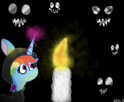 Size: 1011x828 | Tagged: safe, artist:kittycatrittycat, rainbow dash, alicorn, alicornified, candle, clothes, dark scenery, faces of evil, hoodie, magic, race swap, rainbowcorn, shading practice, solo, telekinesis