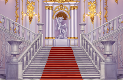 Size: 3891x2524 | Tagged: safe, artist:setharu, twilight sparkle, alicorn, pony, background, chandelier, clothes, commission, dress, female, gilding, hermitage, high res, interior, mare, no pony, palace, scenery, scenery porn, smiling, spread wings, stairs, statue, twilight sparkle (alicorn), vase, wallpaper, wings