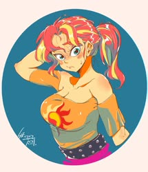 Size: 2000x2328 | Tagged: safe, artist:sozglitch, sunset shimmer, equestria girls, female, looking at you, solo