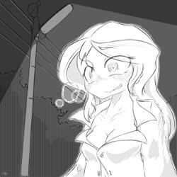Size: 1500x1500 | Tagged: safe, artist:zemlya1741, sunset shimmer, equestria girls, female, monochrome, solo